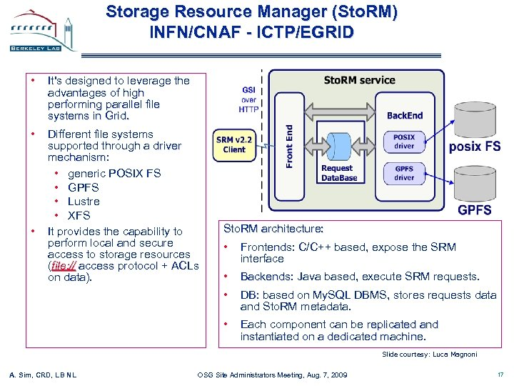 Storage Resource Manager (Sto. RM) INFN/CNAF - ICTP/EGRID • It's designed to leverage the