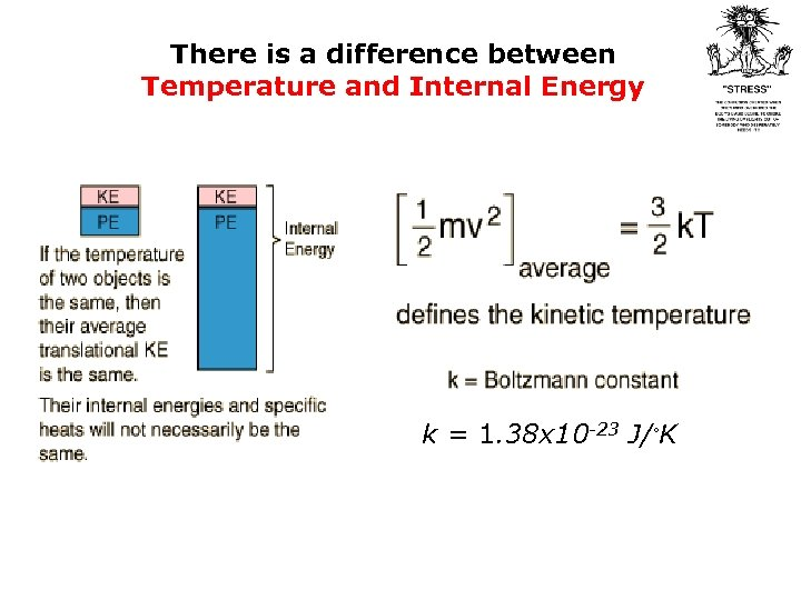 There is a difference between Temperature and Internal Energy k = 1. 38 x