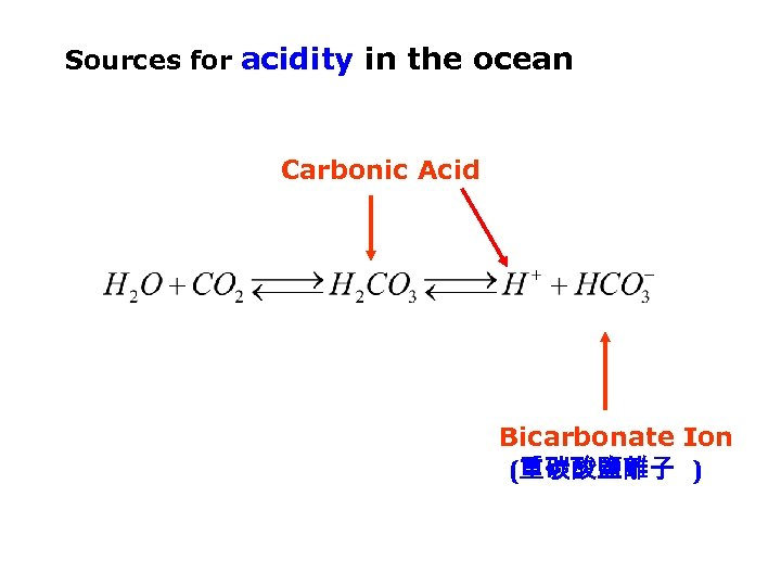 Sources for acidity in the ocean Carbonic Acid Bicarbonate Ion (重碳酸鹽離子 )