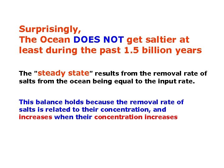Surprisingly, The Ocean DOES NOT get saltier at least during the past 1. 5