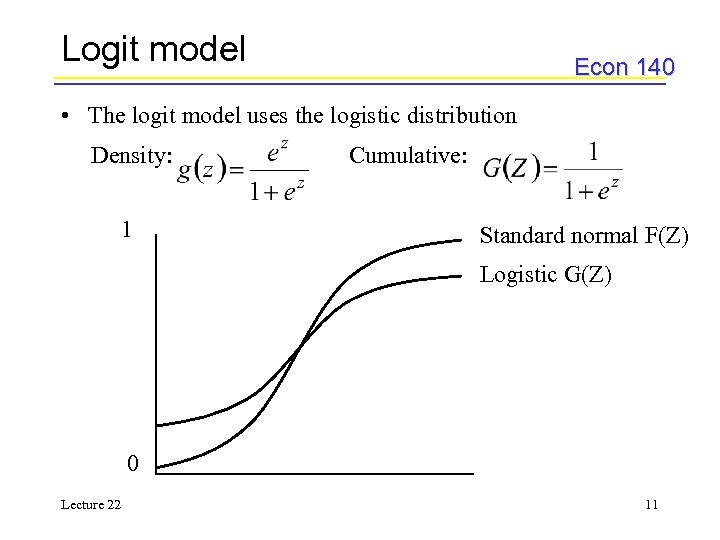 Logit model Econ 140 • The logit model uses the logistic distribution Density: 1