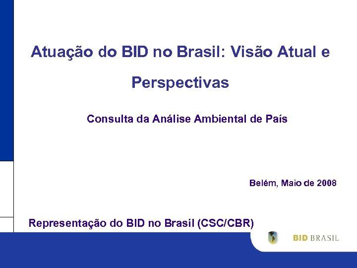 Atuação do BID no Brasil: Visão Atual e Perspectivas Consulta da Análise Ambiental de