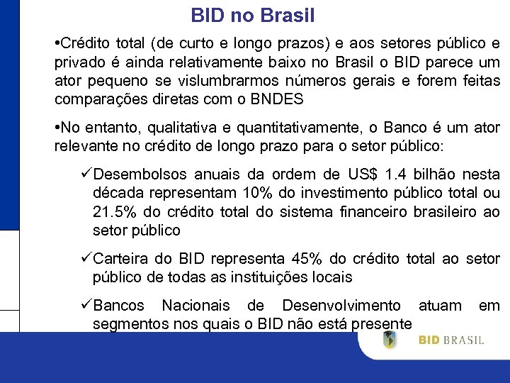 BID no Brasil • Crédito total (de curto e longo prazos) e aos setores