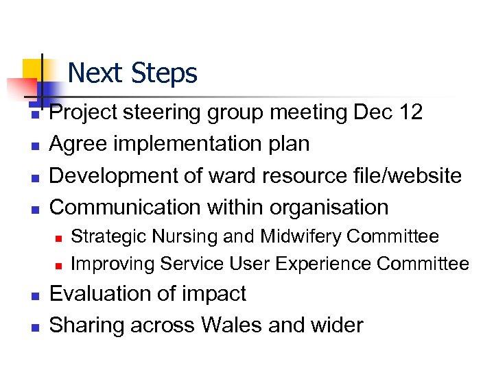 Next Steps n n Project steering group meeting Dec 12 Agree implementation plan Development