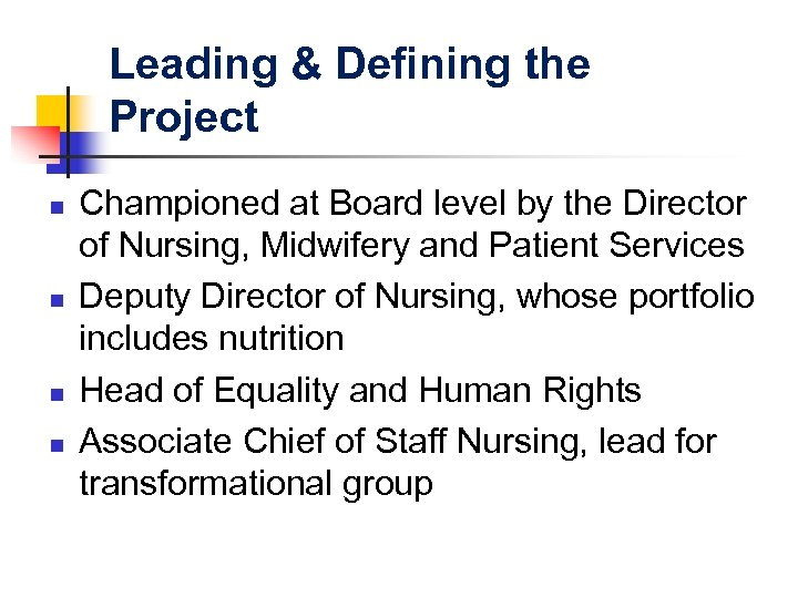 Leading & Defining the Project n n Championed at Board level by the Director