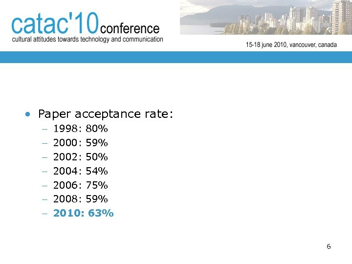 • Paper acceptance rate: – – – – 1998: 80% 2000: 59% 2002: