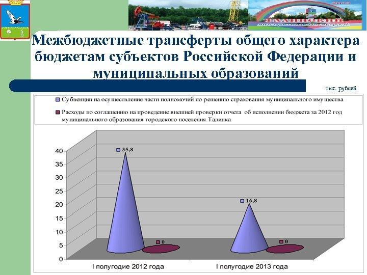 Межбюджетные трансферты общего характера бюджетам субъектов Российской Федерации и муниципальных образований тыс. рублей