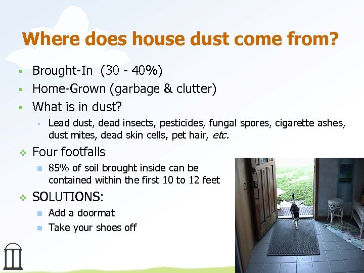 Where does house dust come from? § § § Brought-In (30 - 40%) Home-Grown
