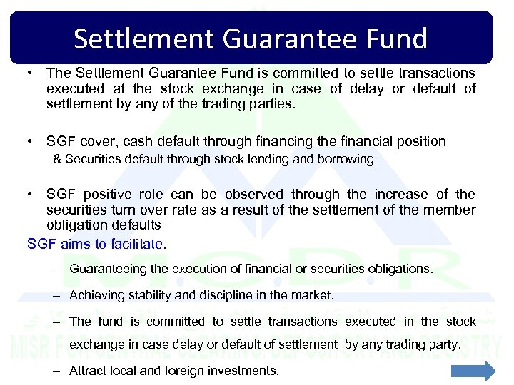 Settlement Guarantee Fund • The Settlement Guarantee Fund is committed to settle transactions executed