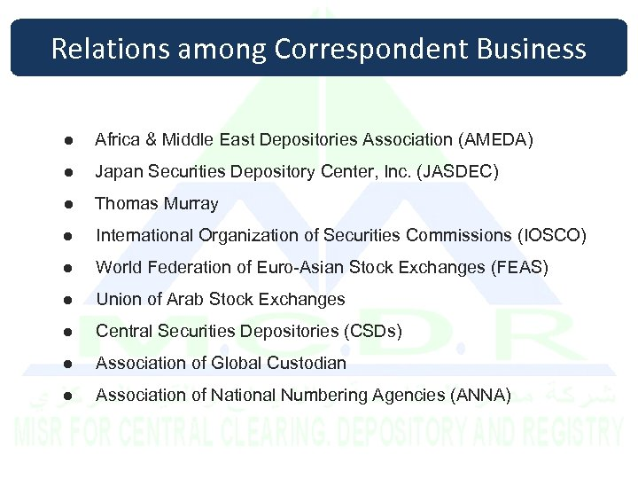 Relations among Correspondent Business ● Africa & Middle East Depositories Association (AMEDA) ● Japan
