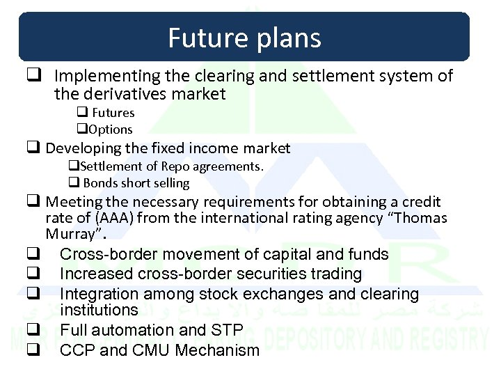 Future plans q Implementing the clearing and settlement system of the derivatives market q