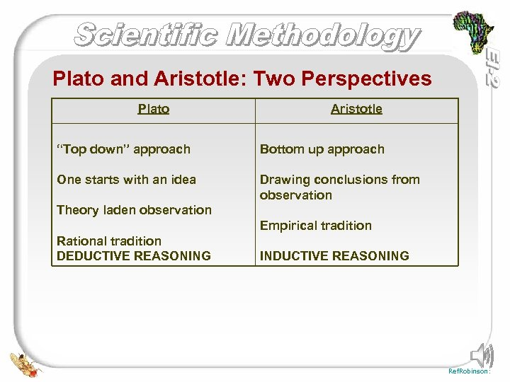 "Plato and Aristotle: Two Perspectives Plato Aristotle ""Top down"" approach Bottom up approach One"