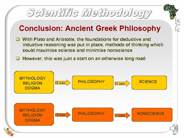 Conclusion: Ancient Greek Philosophy q With Plato and Aristotle, the foundations for deductive and