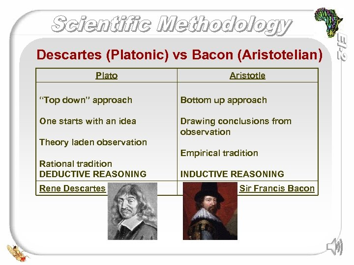 "Descartes (Platonic) vs Bacon (Aristotelian) Plato Aristotle ""Top down"" approach Bottom up approach One"