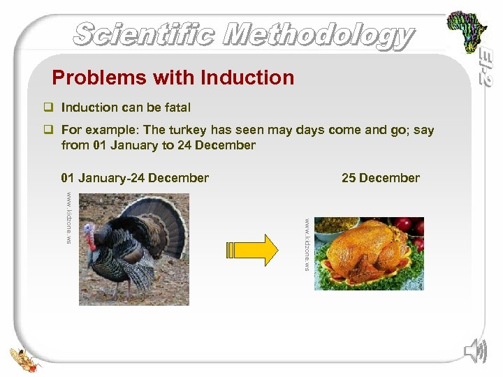 Problems with Induction q Induction can be fatal q For example: The turkey has