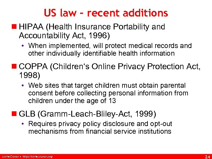 US law – recent additions n HIPAA (Health Insurance Portability and Accountability Act, 1996)