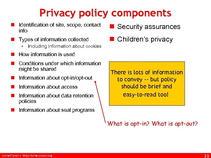 Privacy policy components n Identification of site, scope, contact info n Security assurances n