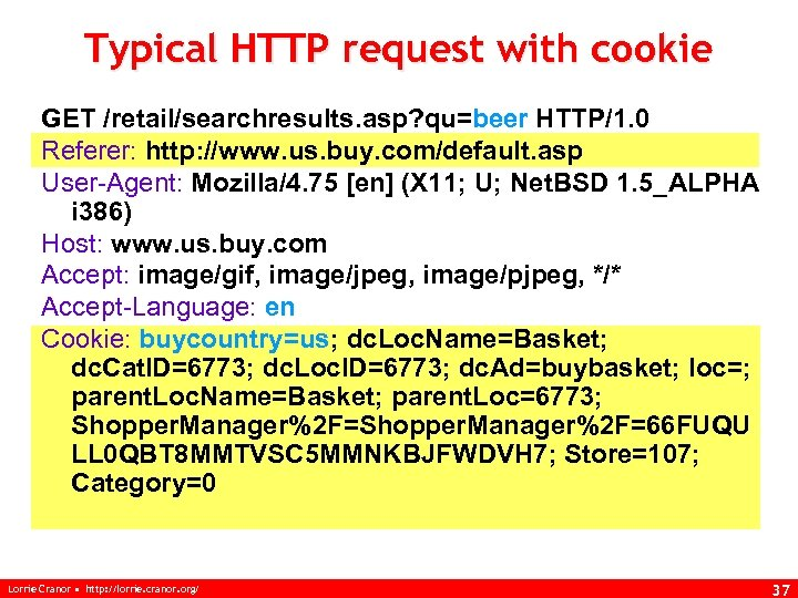 Typical HTTP request with cookie GET /retail/searchresults. asp? qu=beer HTTP/1. 0 Referer: http: //www.