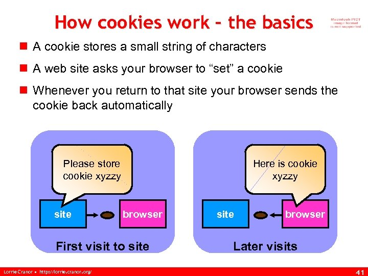 How cookies work – the basics n A cookie stores a small string of