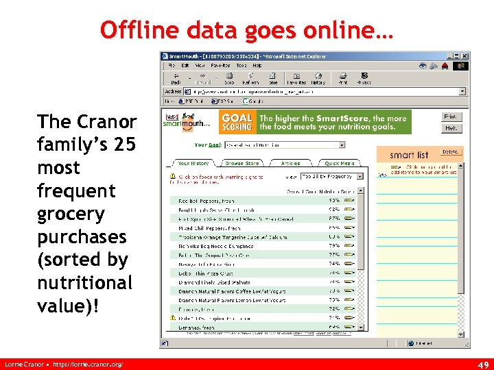 Offline data goes online… The Cranor family's 25 most frequent grocery purchases (sorted by