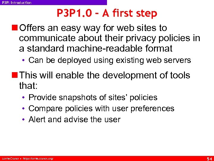 P 3 P: Introduction P 3 P 1. 0 – A first step n