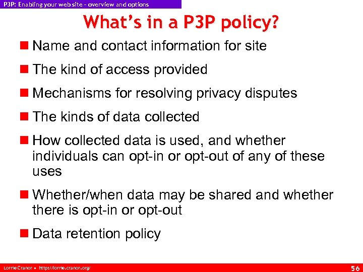 P 3 P: Enabling your web site – overview and options What's in a