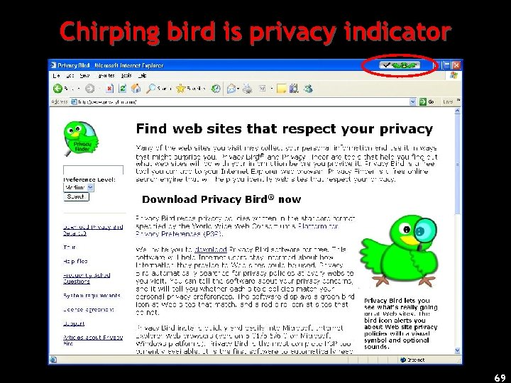 Chirping bird is privacy indicator 69