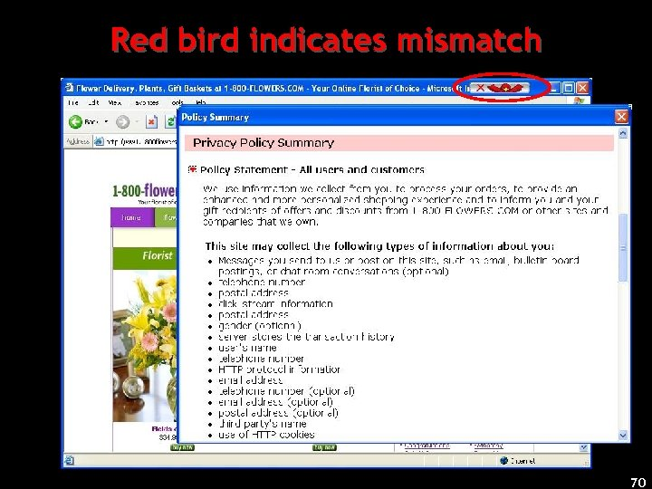 Red bird indicates mismatch 70