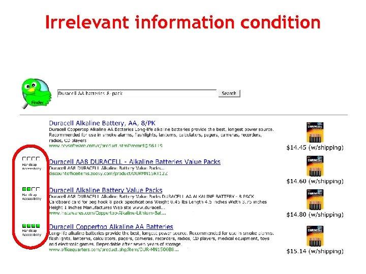 Irrelevant information condition 85