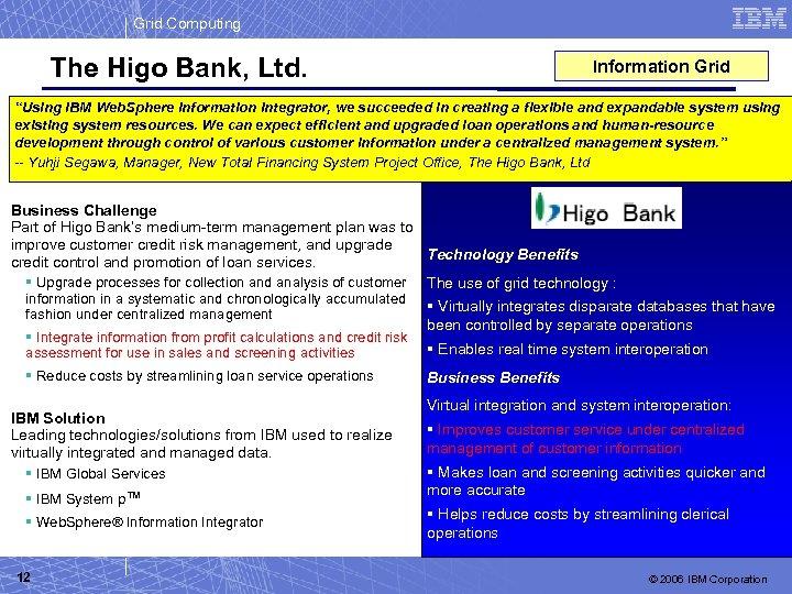"Grid Computing The Higo Bank, Ltd. Information Grid ""Using IBM Web. Sphere Information Integrator,"