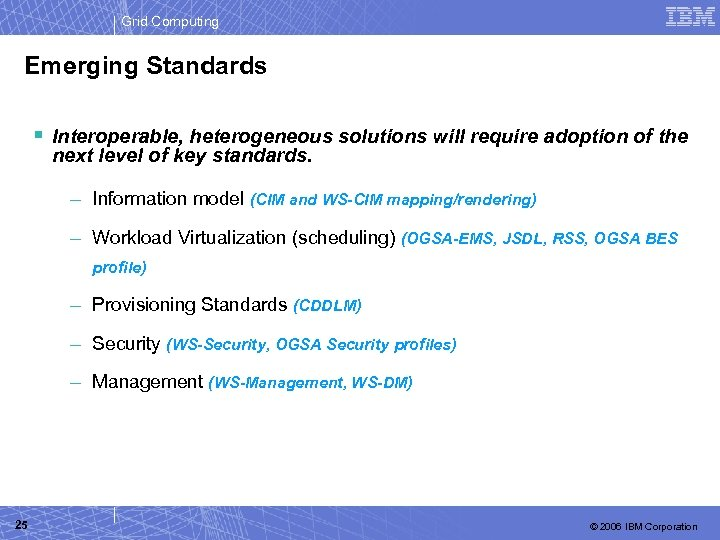 Grid Computing Emerging Standards § Interoperable, heterogeneous solutions will require adoption of the next