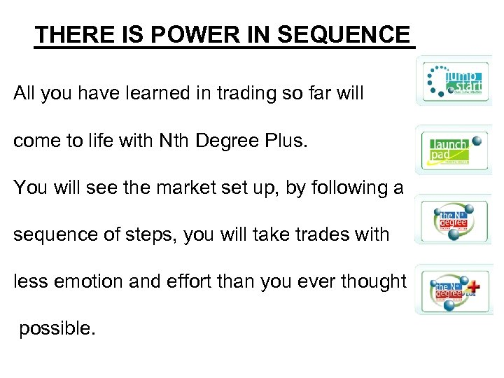 THERE IS POWER IN SEQUENCE All you have learned in trading so far will