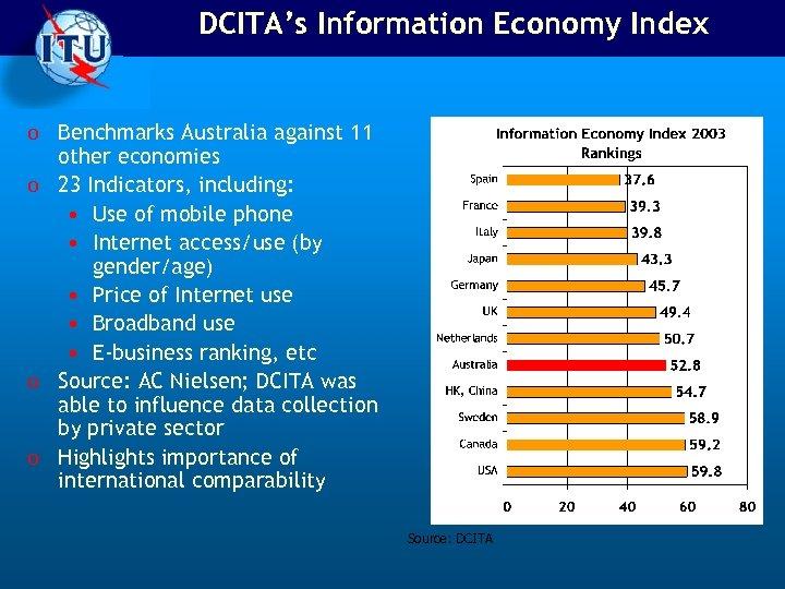 DCITA's Information Economy Index o Benchmarks Australia against 11 other economies o 23 Indicators,