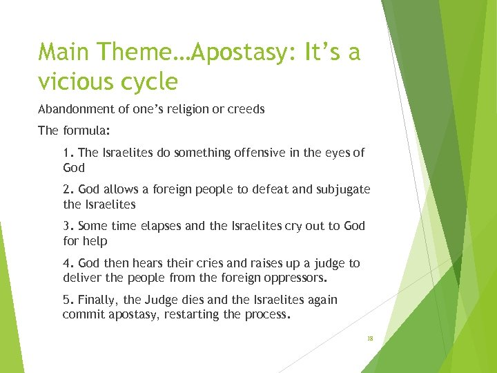 Main Theme…Apostasy: It's a vicious cycle Abandonment of one's religion or creeds The formula: