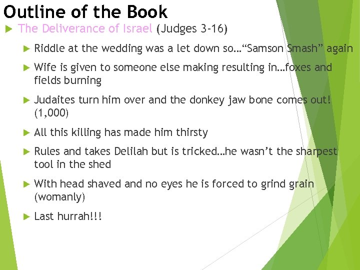 Outline of the Book The Deliverance of Israel (Judges 3 -16) Riddle at the