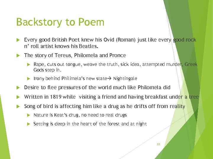 Backstory to Poem Every good British Poet knew his Ovid (Roman) just like every