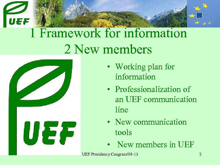 1 Framework for information 2 New members • Working plan for information • Professionalization
