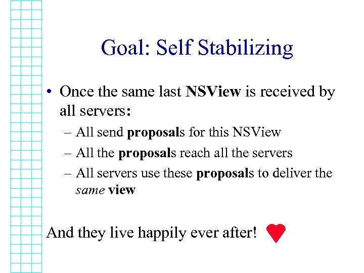 Goal: Self Stabilizing • Once the same last NSView is received by all servers: