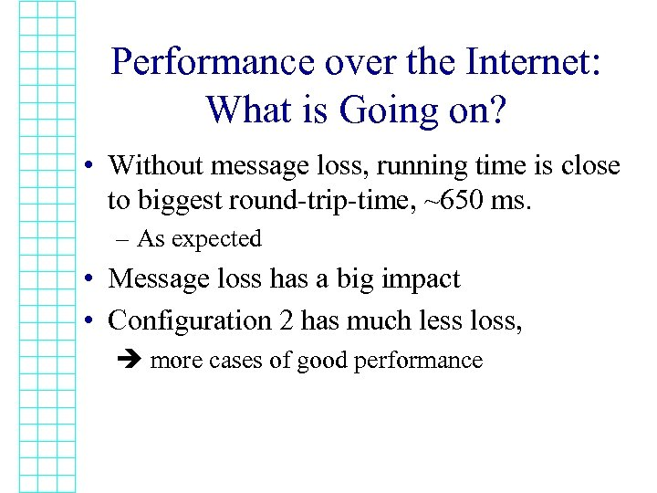 Performance over the Internet: What is Going on? • Without message loss, running time
