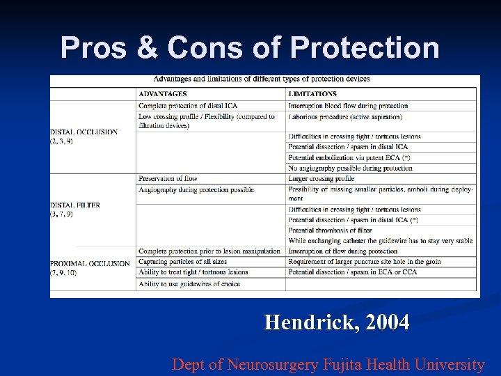 Pros & Cons of Protection Hendrick, 2004 Dept of Neurosurgery Fujita Health University