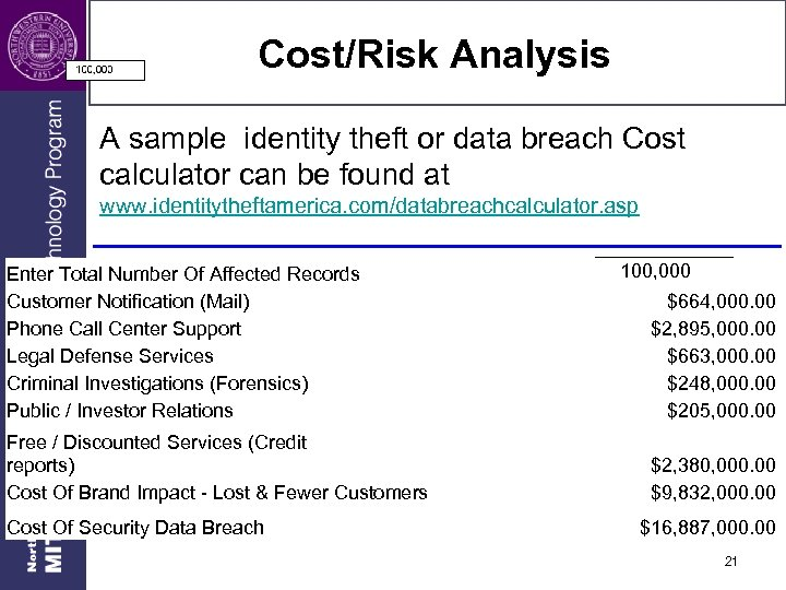 Cost/Risk Analysis A sample identity theft or data breach Cost calculator can be found