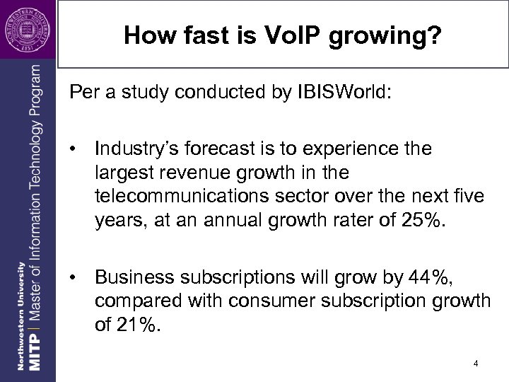 How fast is Vo. IP growing? Per a study conducted by IBISWorld: • Industry's