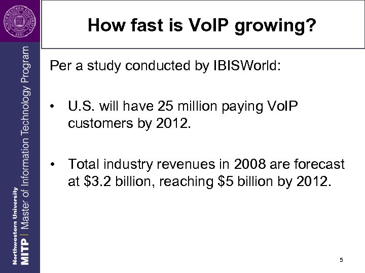 How fast is Vo. IP growing? Per a study conducted by IBISWorld: • U.