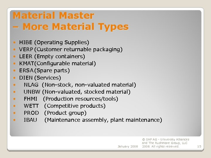Material Management MM Master Data Records EGN