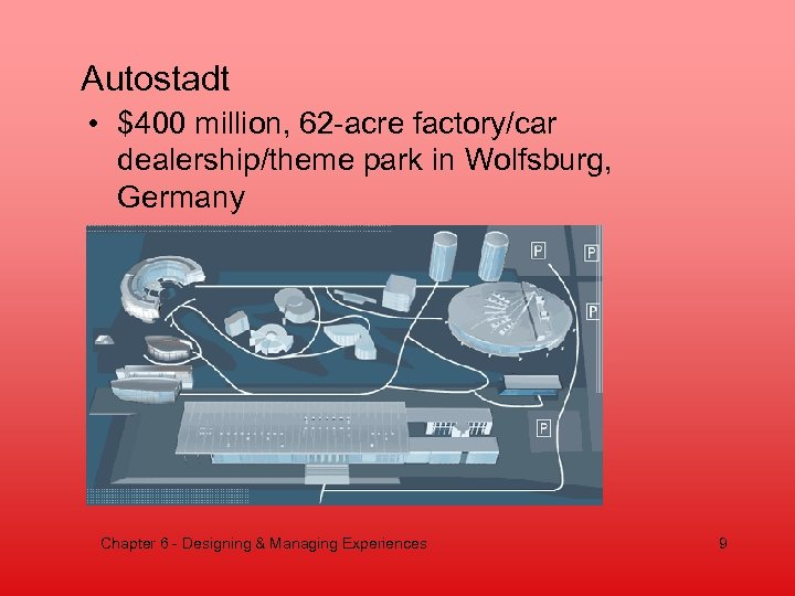 Autostadt • $400 million, 62 -acre factory/car dealership/theme park in Wolfsburg, Germany Chapter 6