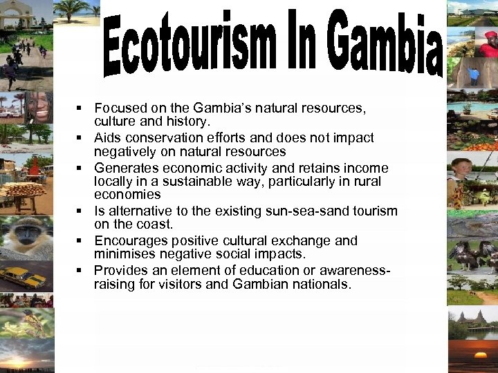 § Focused on the Gambia's natural resources, culture and history. § Aids conservation efforts
