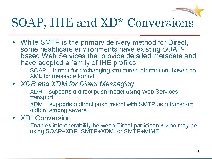 SOAP, IHE and XD* Conversions • While SMTP is the primary delivery method for