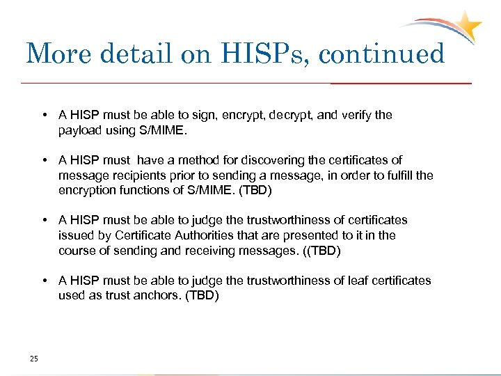 More detail on HISPs, continued • A HISP must be able to sign, encrypt,