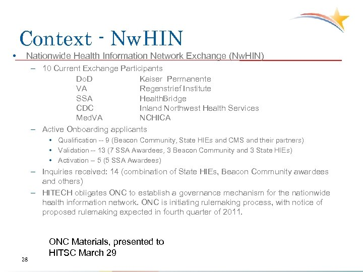 Context - Nw. HIN • Nationwide Health Information Network Exchange (Nw. HIN) – 10