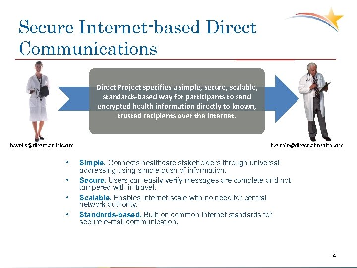 Secure Internet-based Direct Communications Direct Project specifies a simple, secure, scalable, standards-based way for
